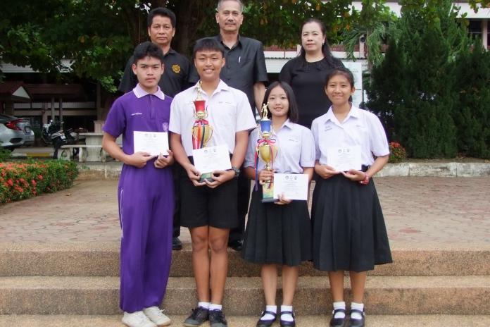 แสดงความยินดี รางวัลชนะเลิศวอลเลย์บอลชายหาด การแข่งขันกีฬาระหว่างโรงเรียนส่วนภูมิภาคจังหวัดลำพูน ประจำปี 2560